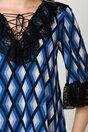 Rochie Mira din voal cu imprimeu geometric si volane din dantela