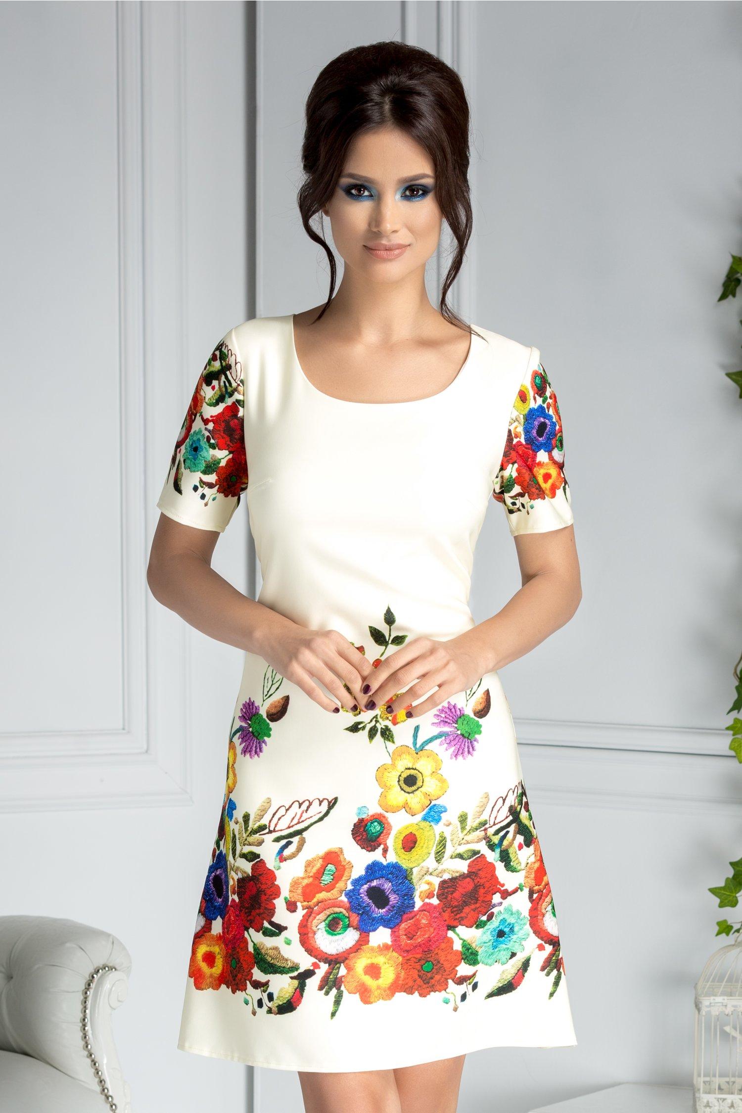 Rochie Mira ivory dreapta cu flori colorate