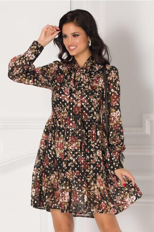 Rochie Mira neagra cu imprimeuri florale si buline aurii