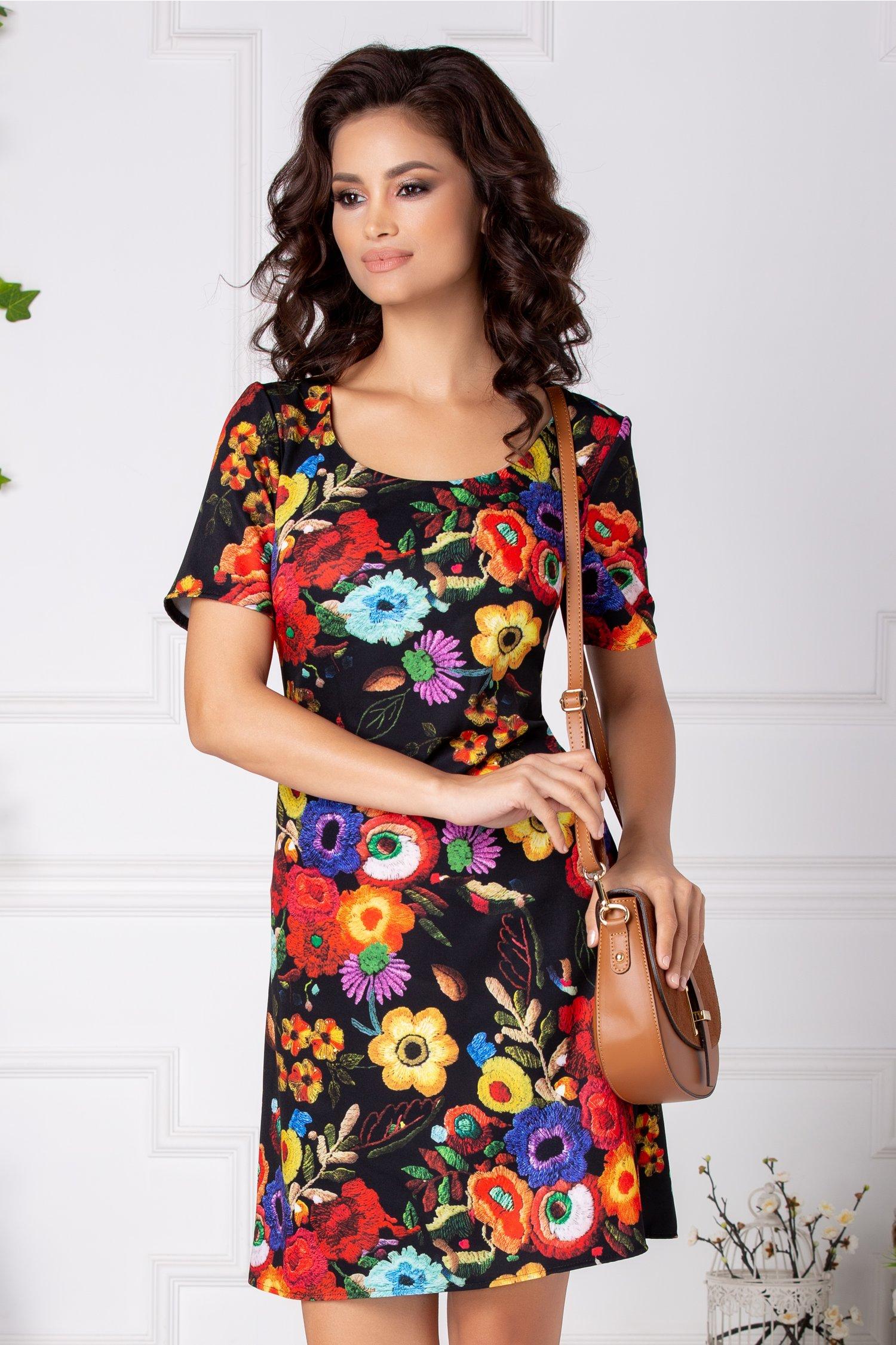 Rochie Mira neagra dreapta cu imprimeu floral colorat