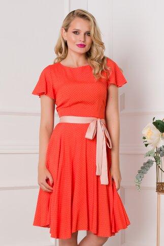 Rochie Mira orange cu buline bej imprimate