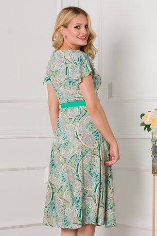 Rochie Mira verde cu imprimeu tip mandala