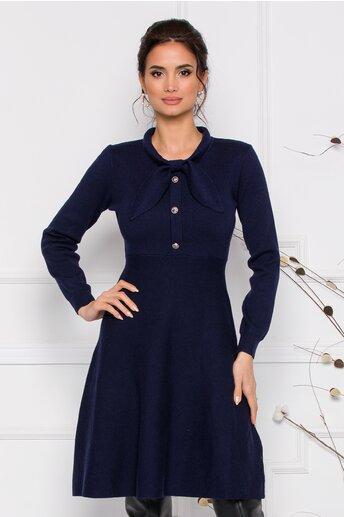 Rochie Mirabela bleumarin din tricot cu funda la guler