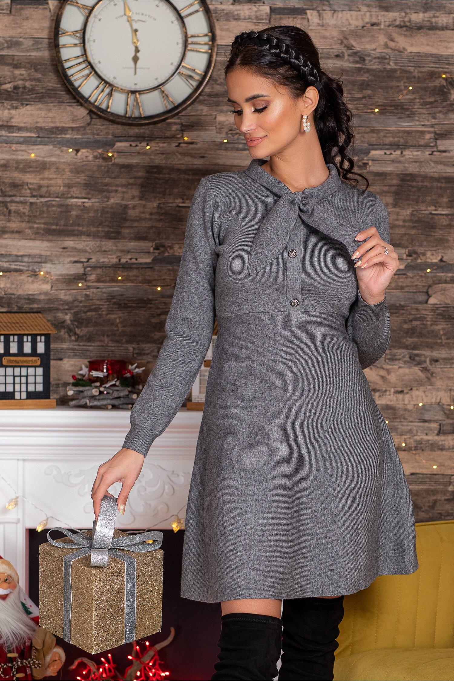 Rochie Mirabela gri din tricot cu funda la guler imagine