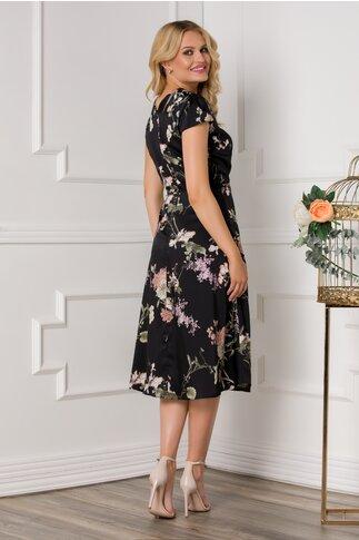Rochie Mirabela neagra cu imprimeu floral in nuante pastelate
