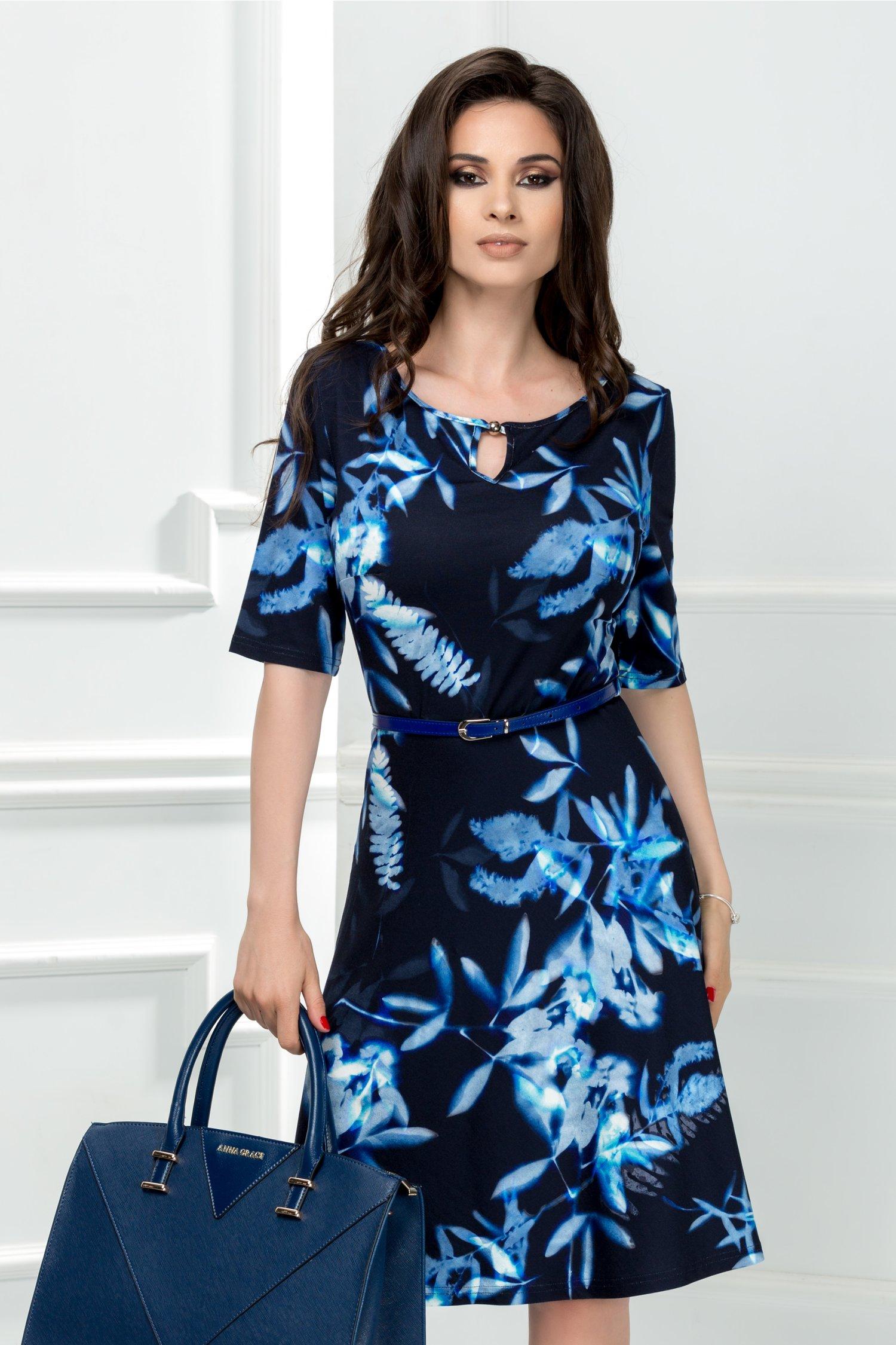Rochie Miralia bleumarin cu flori albastre