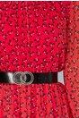 Rochie Mirela rosie cu imprimeu floral si insertii din dantela
