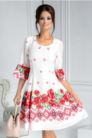 Rochie Mirena alba clos cu motive traditionale rosii