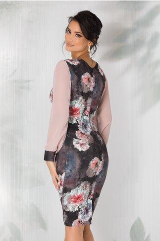Rochie Mirena gri cu imprimeu floral si maneci din voal