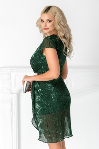 Rochie Mireya verde din paiete petrecuta