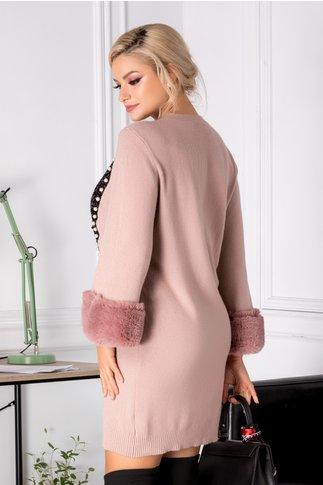 Rochie Miriam roz cu blanita si paiete
