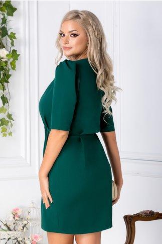 Rochie Miriam verde inchis petrecuta cu nasturi in talie