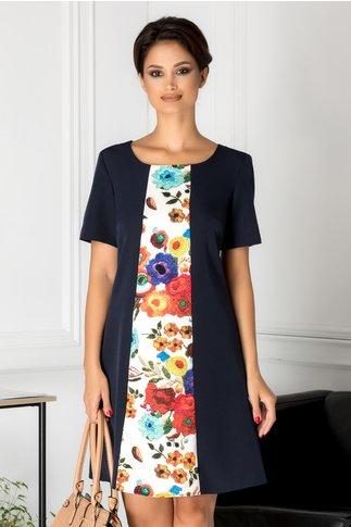 Rochie Miruna bleumarin cu imprimeu floral pe mijloc