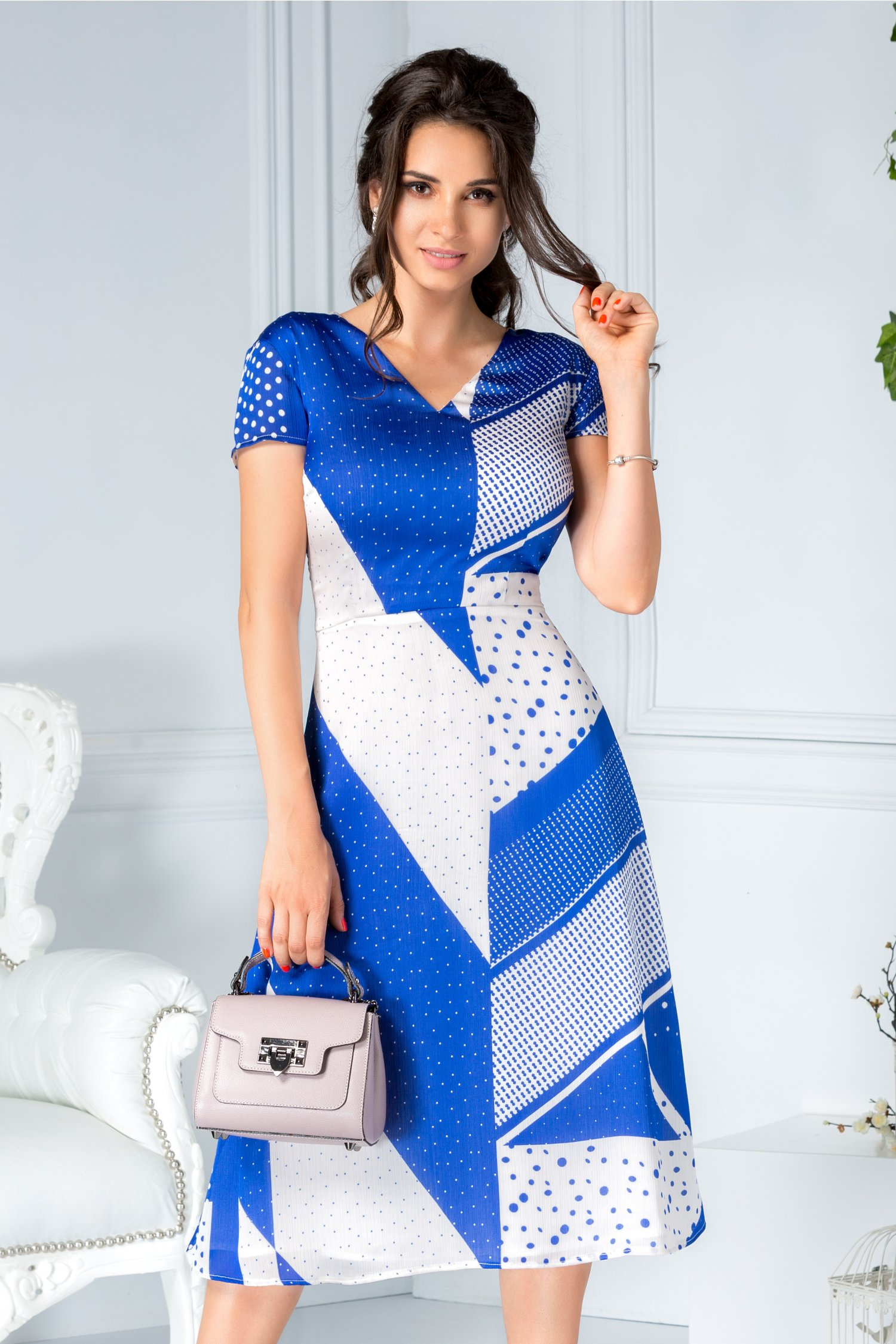 Rochie Miruna midi office de zi alb cu albastru
