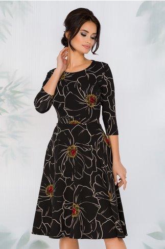 Rochie Miruna neagra cu imprimeu floral maxi