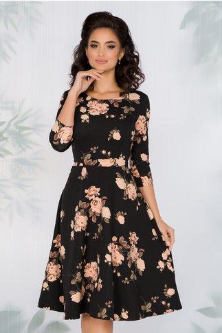 Rochie Miruna neagra cu imprimeu floral roz