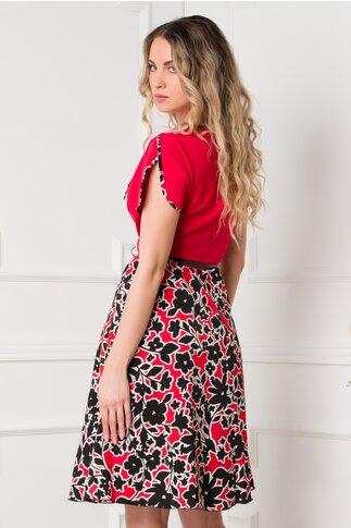 Rochie Miruna rosie cu fusta imprimata
