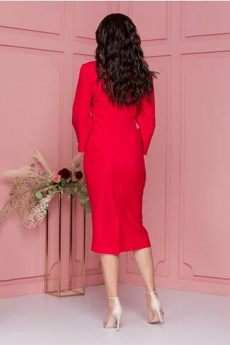 Rochie Miruna rosie cu insertii din dantela si detaliu tip trandafir