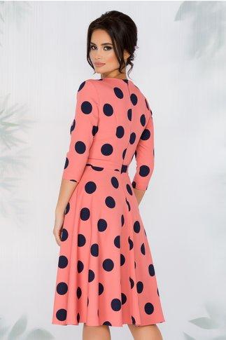 Rochie Miruna roz cu buline maxi bleumarin