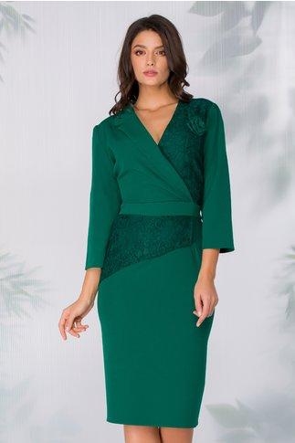Rochie Miruna verde cu insertii din dantela si detaliu tip trandafir
