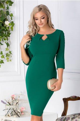 Rochie Miruna verde deschis cu perle la maneci