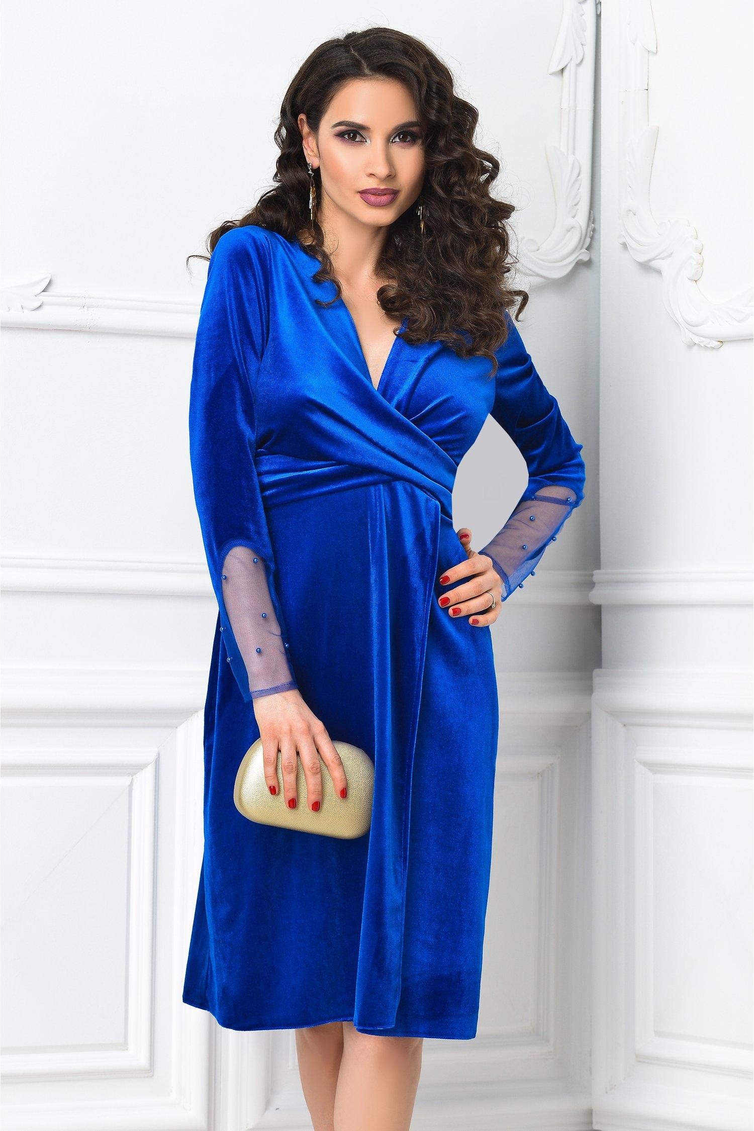 Rochie Mirunda albastra de ocazie din catifea
