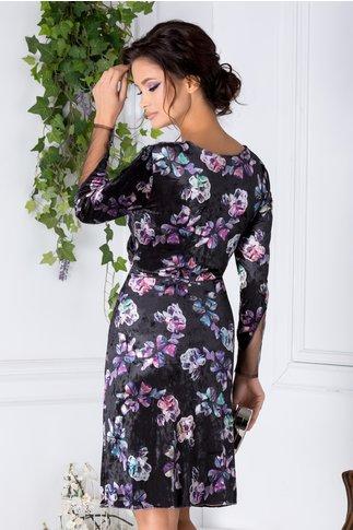 Rochie Mirunda neagra din catifea cu imprimeuri florale