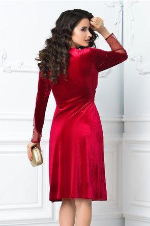 Rochie Mirunda rosie de ocazie din catifea