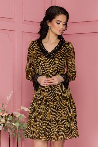 Rochie Misha neagra cu imprimeuri galben mustar