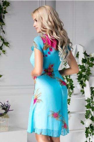 Rochie Missa bleu cu trandafiri fucsia de zi