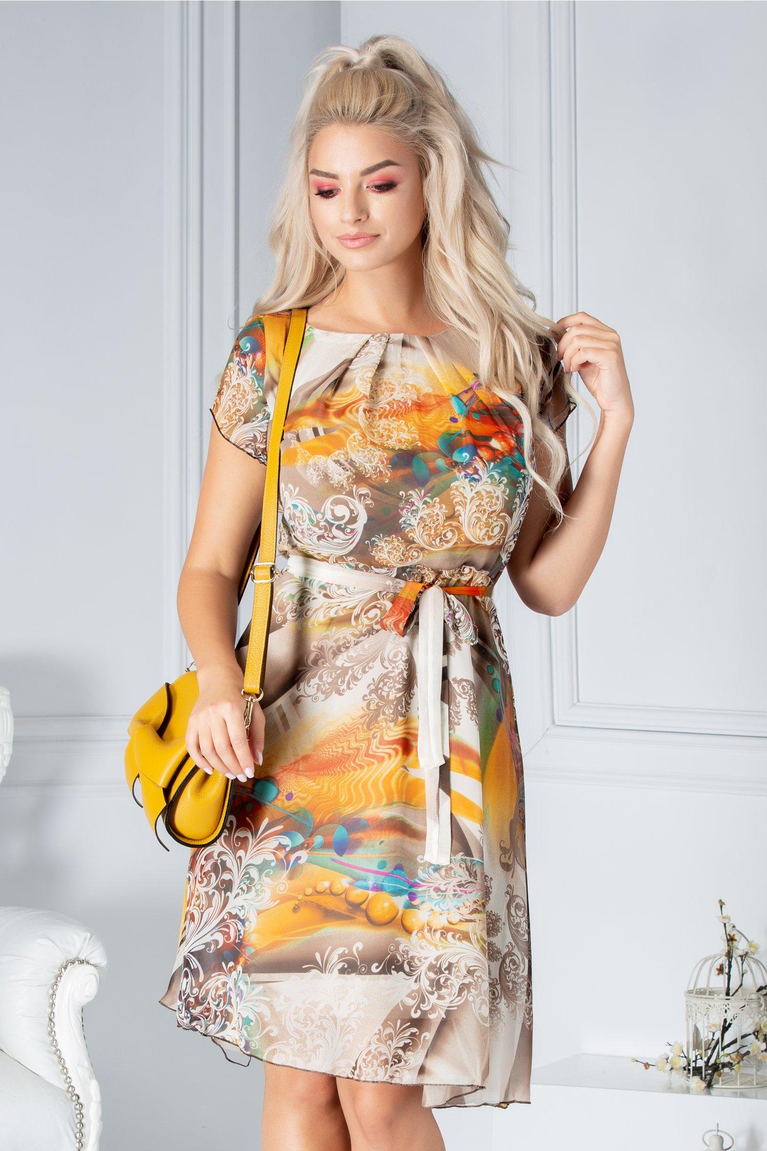 Rochie Missa de vara cu imprimeu maro-orange