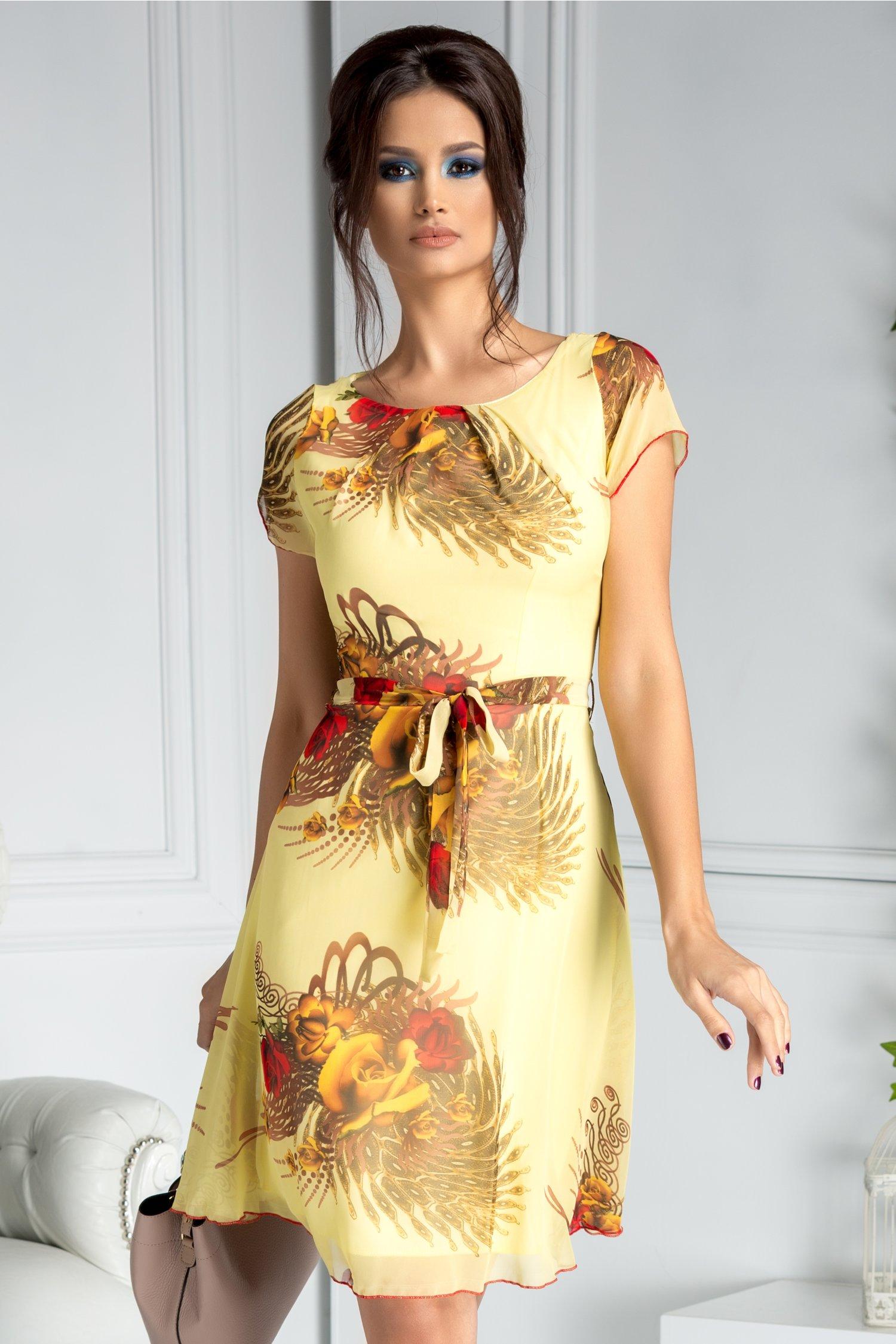 Rochie Missa de vara galben pal cu trandafiri
