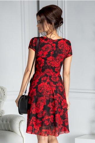 Rochie Missa de vara neagra cu trandafiri rosii