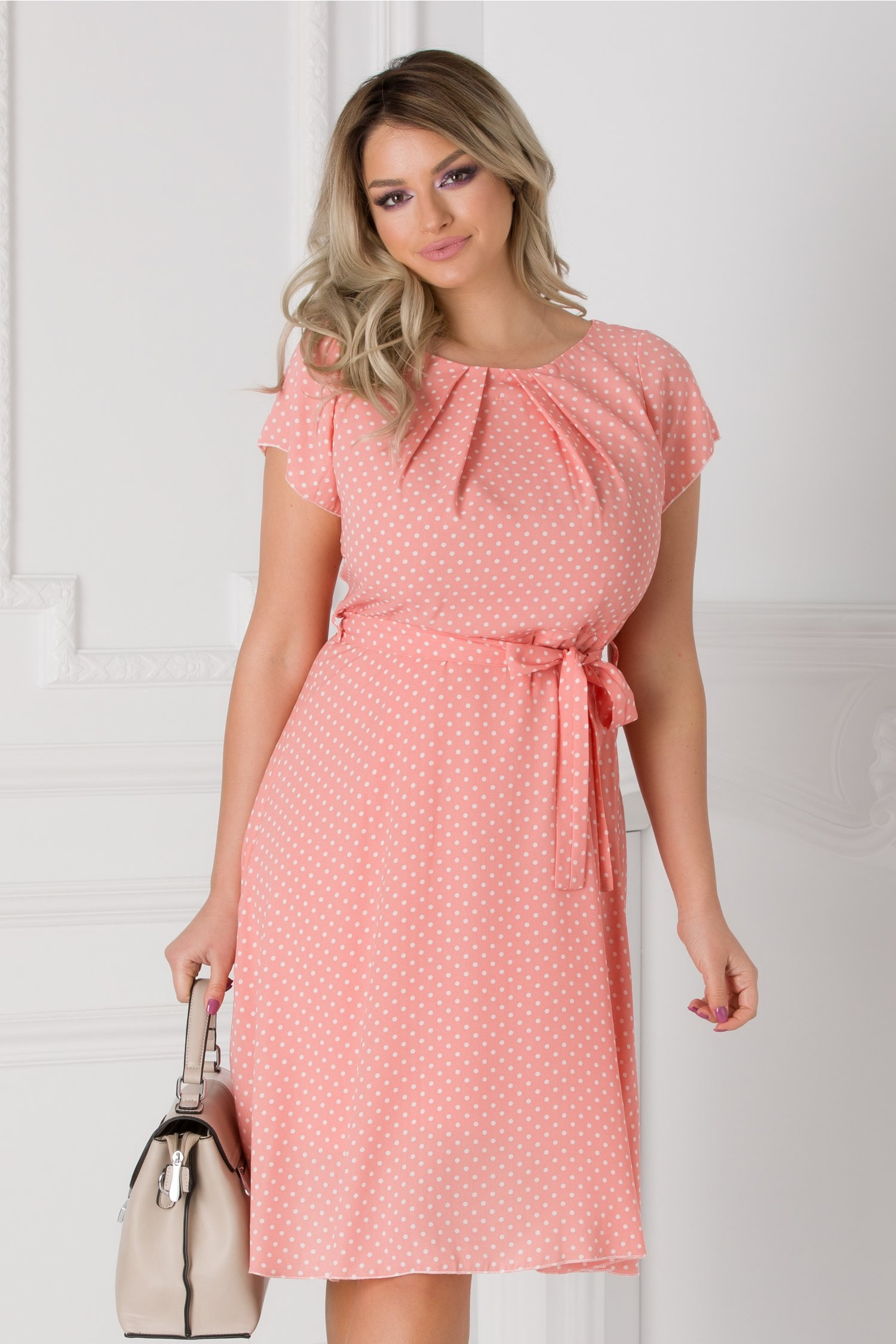 Rochie Missa de vara roz cu buline albe