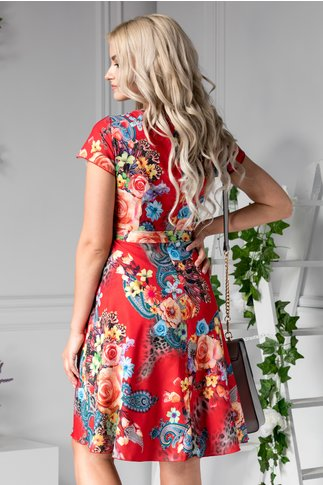 Rochie Missa rosie de zi cu imprimeu colorat
