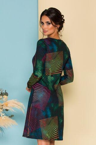 Rochie Missy neagra cu imprimeu multicolor si geometric
