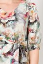 Rochie Misty ivoire cu imprimeu floral si cordon in talie