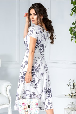 Rochie Moli alba midi office de zi cu imprimeu floral gri