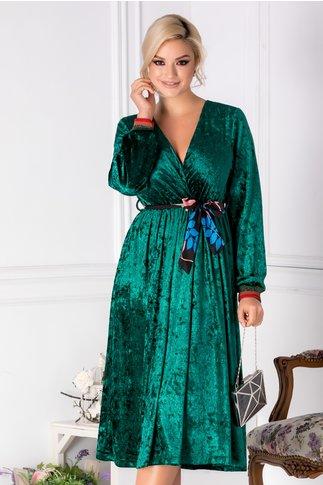 Rochie Moly verde din catifea cu cordon in talie