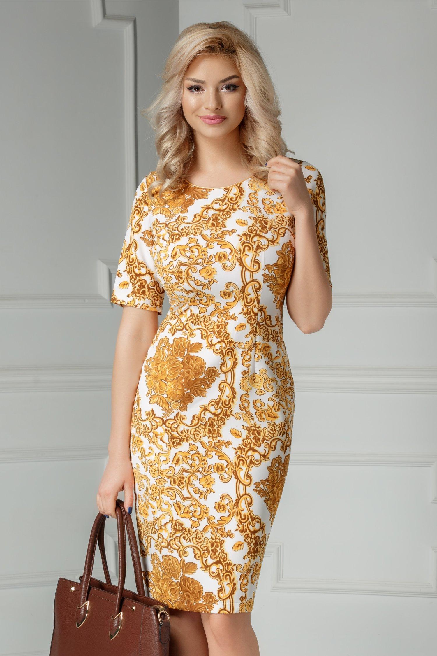 Rochie Mona alba cu imprimeu auriu