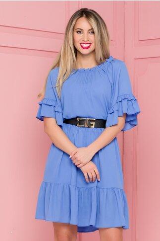 Rochie Mona bleu cu volane si curea in talie