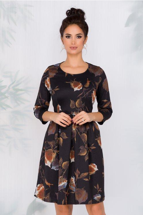 Rochie Monela neagra cu imprimeu floral maro