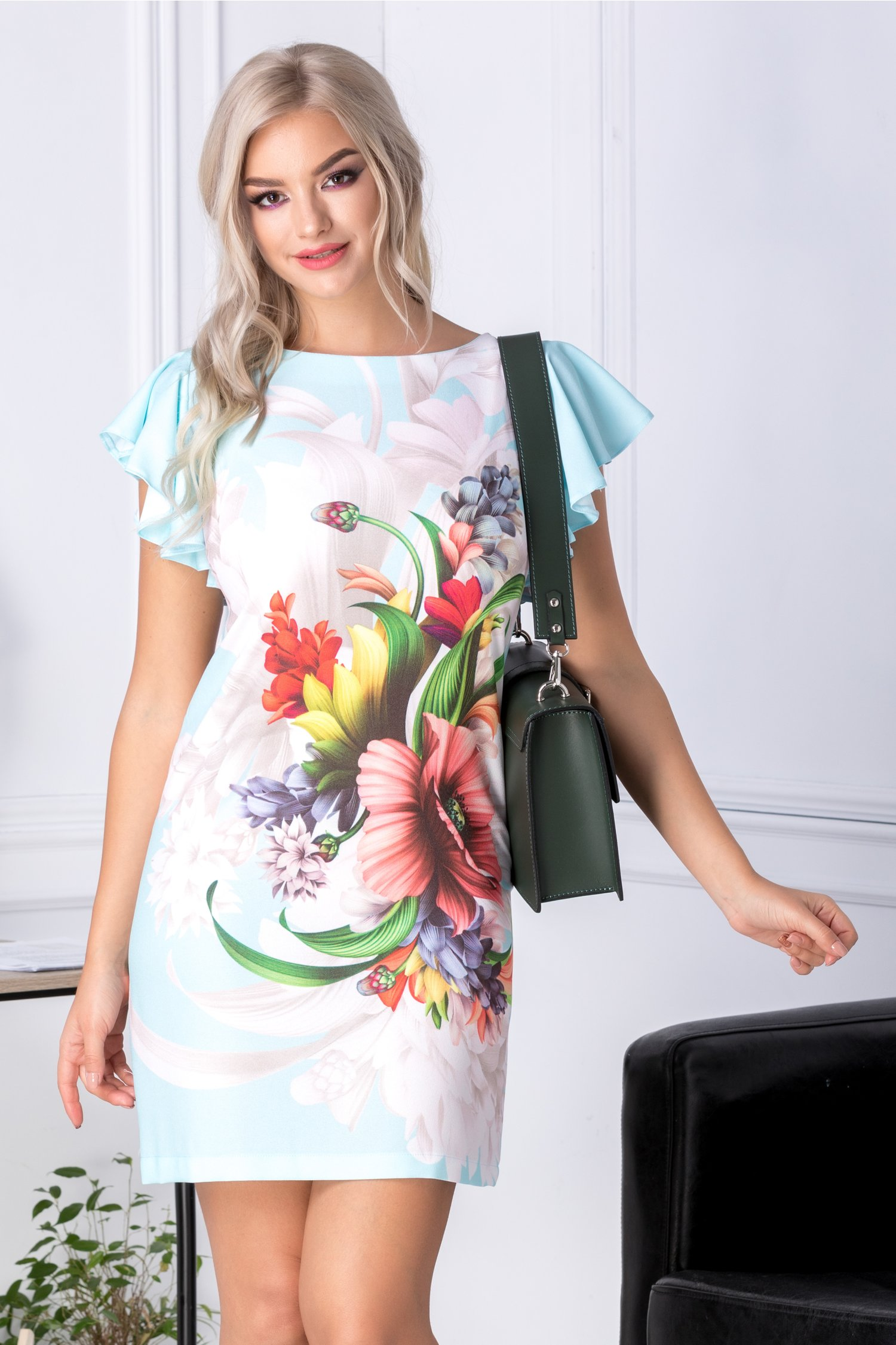 Rochie Monique bleu cu imprimeu floral
