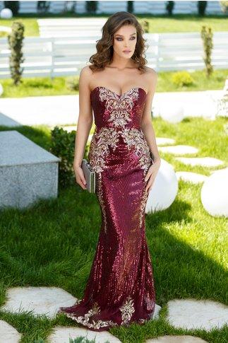 Rochie Monique lunga de seara cu paiete rosii si aurii