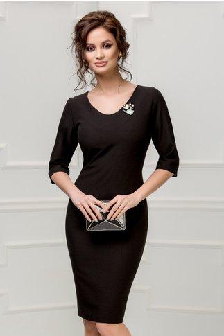 Rochie Monique neagra cu brosa eleganta