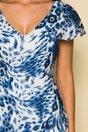 Rochie Moze alba cu imprimeu animal print bleu