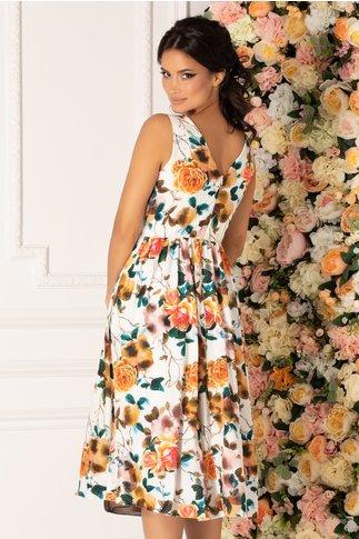 Rochie Moze alba cu imprimeu digital floral