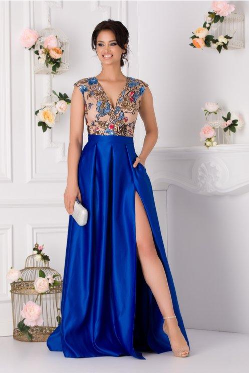Rochie Moze albastra cu broderie florala si paiete la bust