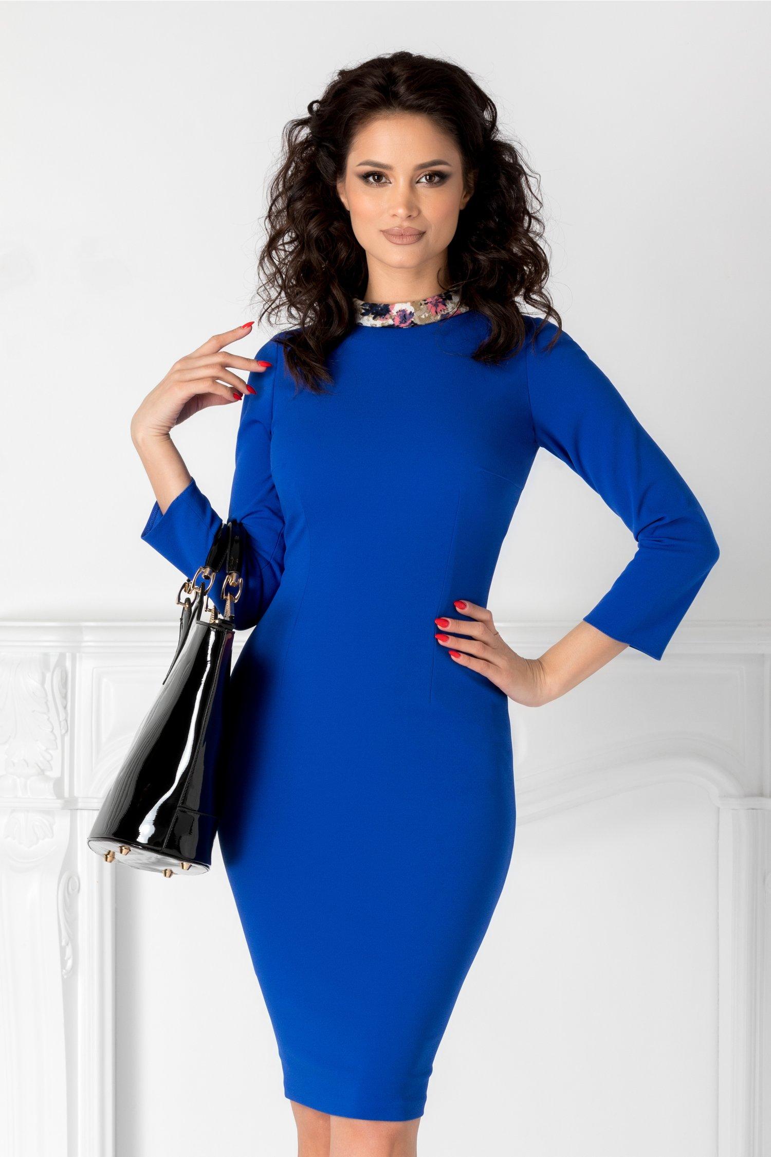 Rochie Moze albastra cu guler inflorat