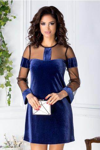 Rochie Moze albastra din catifea si tull